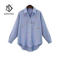 İlkbahar Sonbahar Kadın Zarif Turn-down Yaka Uzun Kollu Bluz Gömlek Artı Boyutu XL-4XL Gevşek Moda Nakış Tops T14401X 210419