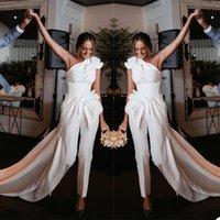 Fashion Sheath Wedding Dress Jumpsuits One Shoulder Ruffles Ruched Bride Dresses Backless Bridal Gowns robes de mariée