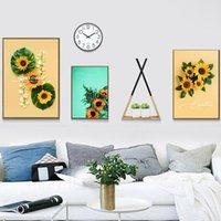 Pinturas Arte Moderno Planta Lienzo Pintura Pintura Sunflower Imagen Oleo Decoración para el hogar Sala de estar Sala de estar Cartel de impresión de pared simple