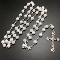3PCS pack 6mm White Glass Faux Pearl Bead Rosary,DIY Necklaces For Women Jesus Christ Cross Pendent Chains