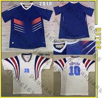 Menfrance 2010 월드컵 레트로 축구 유니폼 프랑스 1996 Zidane # 10 팀 홈 헨리 빈티지 클래식 오래 된 축구 셔츠