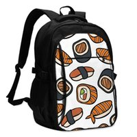 Backpack USB Charging Laptop Women's For Teenage Students Girls School Cute Japanese Sushi And Rolls Travel Bagpack