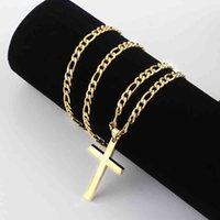 Halskette 4,5mm Figaro Kette Gold 316L Edelstahl für Männer Frauen Modeschmuck Geschenk Kreuz Anhänger Wasserdichte Nk Halsketten