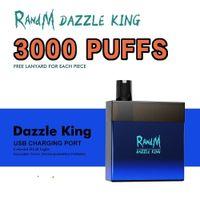 Doğrudan Toptan E Sigara Tek Kullanımlık Orijinal R ve M Dazzle King 3000 Puffs Cihaz Kiti Prefiç 8 ml Pods Randm Vape Kalem RGB Işık 12 Renkler