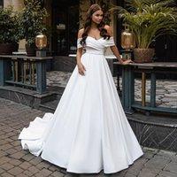 White A Line Wedding Dresses Off The Shoulder Neck Bridal Gowns Backless With Beaded Sash Sweep Train Satin Plus Size Vestido De Novia
