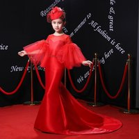 Girl's Dresses Royal Flower Girl Flare Sleeve Gown Kids Wedding Party Luxury Red Princess Children Formal Costume