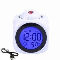 Reloj de alarma de proyección con lámpara LED Voz digital Talking Función LED Pared Techo Proyección Alarma Sn Pantalla de temperatura 678 V2
