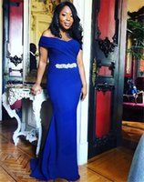 Formal Occasion Mermaid Evening Dresses 2022 Off Shoulder Beaded Sash Long Prom Dress Zipper Back Maid of Honor Gowns