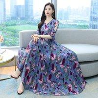 Blue Floral Maxi Dress V Neck Chiffon Print Slim Elegant Party Prom Mother Style Women Long Dresses 9127