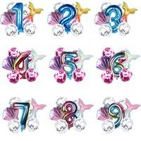 Multicolor Fishtail Número digital Estilo Fiesta de cumpleaños Decoración de globo Linda belleza Pescado Cola Inicio Party Decor Accesorios