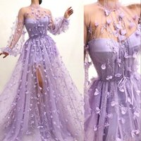 2021 Sexy Luxury Evening Dresses Wear Lilac High Neck Long Sleeves Illusion Lace 3D Floral Flowers Sheer Side Split Formal Party Dress Prom Gowns Sweeep Train