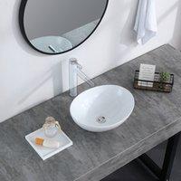 Ванная комната приведенная выше средняя яичная форма овальная чаша керамическое сосуд тщеславие раковина арт бассейна белый фарфор с всплывающей стопором