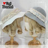 Donna ragazza estate cappello di paglia giapponese lolita dolce dolce morbido prua carino tessuto per bambini sole cosplay wide corne cappelli