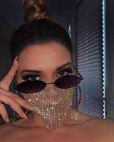 Trendy Bling Rhinestone Face Mask Jewlery for Women Face Body Jewelry Night Club Decorative Jewellery Party Mask Kka7883