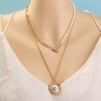Michaela femenina creativa joyería de moda nicho diseño puro blanco resalte perla corchete collar aniversario regalos de cumpleaños mujeres colgante ncop