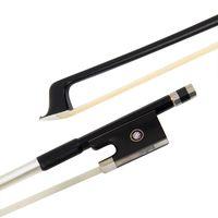 바이올린 활 4/4 탄소 섬유 라운드 스틱 말 헤어 흑단 개구리와 금속 뒤꿈치 검정색 검정색