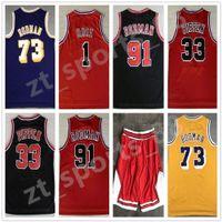 Mens Sports Shirts Broderie 1 # Derrick Rose Jersey Red The Worm 91 # Dennis Rodman Blanc Black 33 # Scottie Pippen cousue
