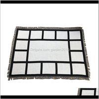 9 Penels Sublimation Blank Blanket With Tassels Black White Heat Transfer Printing Shawl Wrap Sofa Sleeping Throw Blankets For 8Qx So4Py