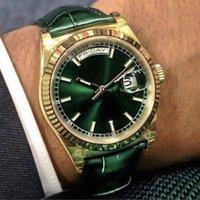 Best-Selling Men's Regarder en cuir vert Cadran doré Bezel Dazzlings éblouissant Verre Saphir Verre automatique Mécanique Simple Mens Montre-Bracelet