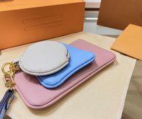 3 أجزاء / مجموعة مصمم محفظة pochette cles الأزياء النسائية مفتاح حلقة بطاقة الائتمان حامل عملة فاخرة ميني محفظة حقيبة سحر