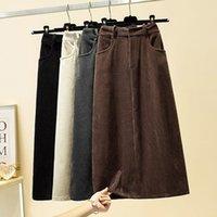 Skirts Corduroy Slit Skirt Autumn And Winter Women's Velvet Mid-Length A-Line High Waist Retro Temperament Slim Mujer Faldas Y866