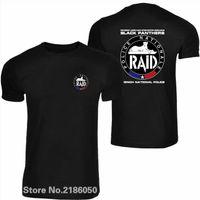 RAID Fransız Polis Anti Terörizm Erkekler T Gömlek Birimi Gign Siyah O Boyun Tişörtleri