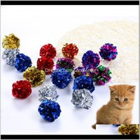 Suministros Home Garden Drop Entrega 2021 12 PCS Cat Paper Toy Toy Toys Play Products Cats Mutil-Color for Mezing Pet Ball Color Fun E0B9K