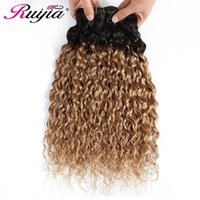 Human Hair Bulks T1B 27 Colored Ombre Water Wave Peruvian Weave Bundles Non Remy 1 3 4 Straight Weft