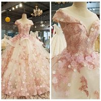 Pink Quinceanera Dresses Luxury 3D Floral Applique Handmade Flowers Beaded Cap Sleeves Scoop Neck Sweet 15 16 Birthday Prom Party Ball Gown