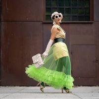 스커트 패션 티어 얇은 명주 그린 스커트 그린 맥시 고딕 성인 Tutu Faldas Saia Long