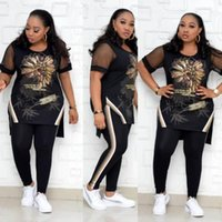 Plus Size Tracksuits Two Piece Set Women Tracksuit Dashiki Africa Clothing African Clothes Outfits Tops +Pants Sweat Suit Matching Sets