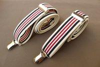 Vermelho preto listras elásticas suspensórios pesados ajustáveis listras ajustáveis suspensórios resistentes