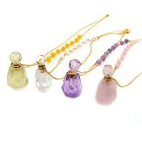 Unique Light Yellow Gold Color Irregular Shape Perfume Bottle Pendant With Round Beads Necklace Essential Oil Jewelry Necklaces