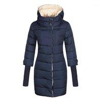 겨울 자켓 여성 높은 칼라 후드 코튼 - 패딩 파카 여성 긴 퀼트 코트 플러스 사이즈 4XL 패션 옷 2020 Brand1