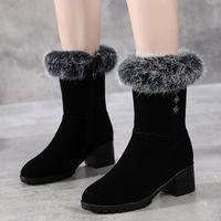 Boots 2021 New Rabbit Fur Snow Boots Womens Matte Leather Mid Heel Soft Bottom Middle Boots plus Velvet Warm Cotton