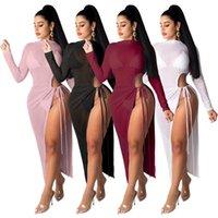 Повседневные платья летние женщины сплошное цветное платье сплошное сексуальное Смешать сквозь с длинным рукавом навязчивой узел вырезать Сплит FORK Maxi Beach