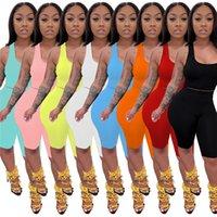 Mulheres de verão roupas de dois pedaços conjuntos sem mangas tracksuits pulôver tanque de tanque + shorts casual jogging terno ao ar livre sweatsuit sólido tênis yoga ternos esportivos s-2xl 4995