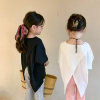 INS Korean Fashions kids Girls T-shirts Tees Back Cross Irregularity Designs Children Streetwear Tops Summer Outfits