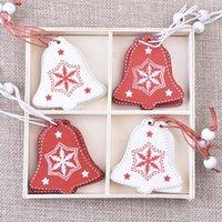 Decoração de fábrica decoração de natal madeira DIY DIY pingente de decoração de pingente de natal snowflake sino elk angell pa