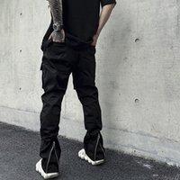 Voltar Ankle Zipper Bolsos Calças de carga para Mens High Street Drawstring em linha reta macacão preto Oversize Solto calças casuais