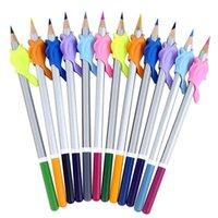 10pcs / 세트 연필 그립 돌고래 어린이 홀더 펜 쓰기 원조 그립 자세 보정 도구 (10pcs 무작위 색상) 리필