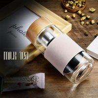 350 ملليلتر 12oz زجاج زجاجات المياه مقاومة للحرارة جولة مكتب كوب الشاي مع الفولاذ المقاوم للصدأ الشاي infuser مصفاة الشاي القدح سيارة tumblers dhl 2021