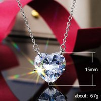 Modehjärta 925 Silver Halsband Hängsmycke för kvinnor Vit Sapphire Smycken Gift 1414 T2