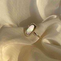 Silvologia 925 Sterling Silver Natural Shell Quadrado Elegante Temperamento Luz Luxo Anéis para Mulheres 925 Jóias Minimalistas