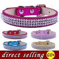 10 pçs / lote strass filhote de cachorro filhote de cachorro cães bling luxo diamante glitter couro pequeno pescoço cinta teddy vermelho rosa ouro colares de ouro colares