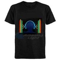 100% Algodão Party Light Up El Painel T-shirt Piscando Som LED Activated El Painel T-shirt 210409