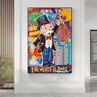 Alec Monopoly graffiti art peintures de l'argent sur la toile d'art mural Affiches et impressions Le monde est à votre domicile moderne