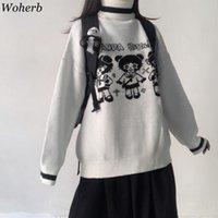 Women's sweaters Woherb Cartoon Girl Trui Female Korean Harajuku Women Japanese Kawaii Nice Ulzzang Dress Sweet Jumper 0917