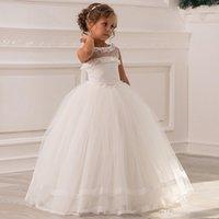 Flower Girl Dresses For Weddings Ball Gown Tulle Lace Beaded Long First Communion Little Gimmunion
