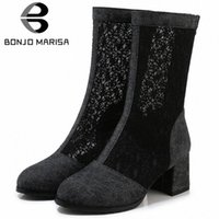 Bonjomarisa Nuovo 33 43 Ladies Fashion Street Denim Stivali estivi Elegante Mid Calf Mesh Boots Donna 2020 Tacchi alti Scarpe Donna P1J2 #